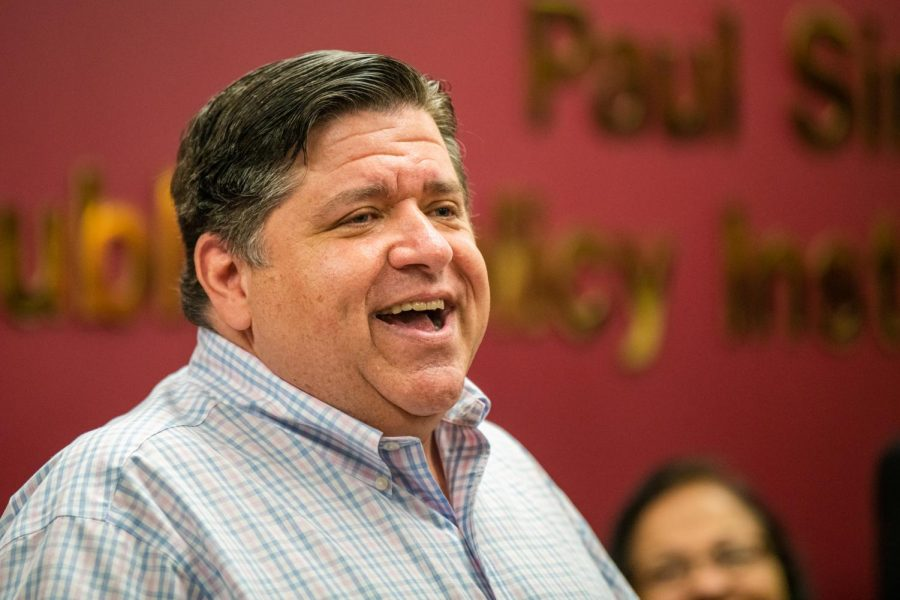 Governor JB Pritzker speaks to community members on Friday, Aug. 23, 2019 inside Paul Simon Public Policy Institute during a meet and greet with legislatures.