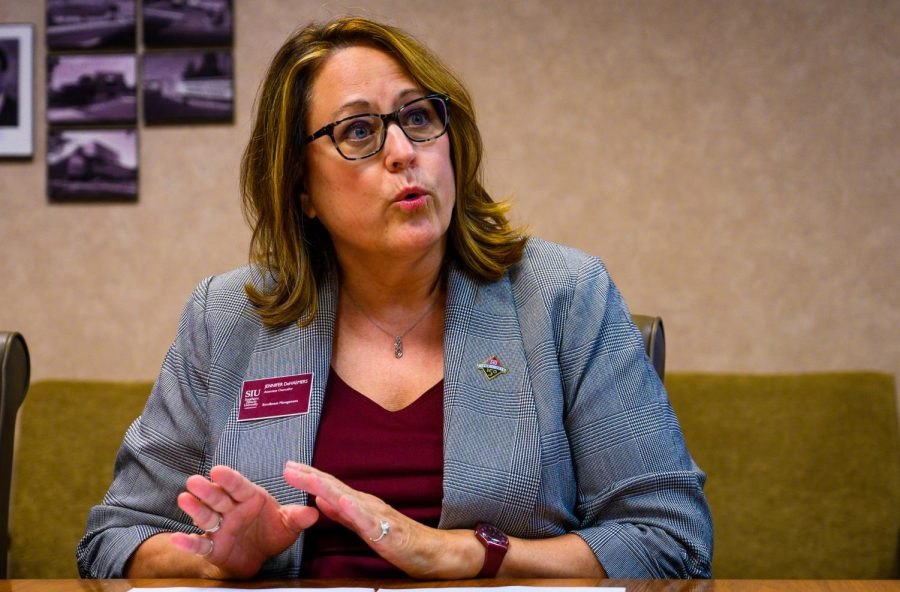 Associate Chancellor for Enrollment Management Jennifer DeHaemers talks during a news conference on Wednesday, Sept. 4, 2019. The meeting discussed the 2019 enrollment numbers for SIU.