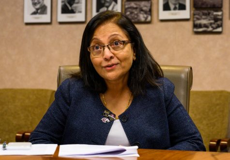 Interim Provost and Vice Chancellor for Academic Affairs Merra Komarraju talks during a news conference on Wednesday, Sept. 4, 2019. The meeting discussed the 2019 enrollment numbers for SIU.