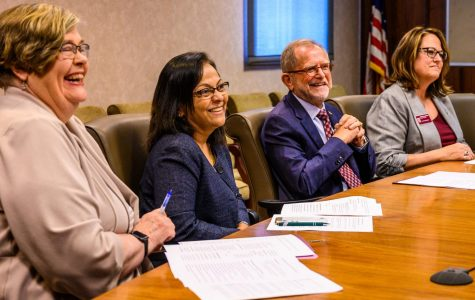 SIU Administration: Rae Goldsmith, Meera Komarraju, Interim Chancellor John Dunn and Jennifer DeHaemers react during a news conference on Wednesday, Sept. 4, 2019. The meeting discussed the 2019 enrollment numbers for SIU.