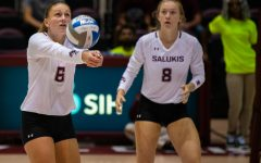 Junior opposite hitter Emma Baalman hits the ball on Saturday, Sept. 7, 2019 during the Salukis' 3-1 win against the Southeastern Louisiana University Lions at the Banterra Center.