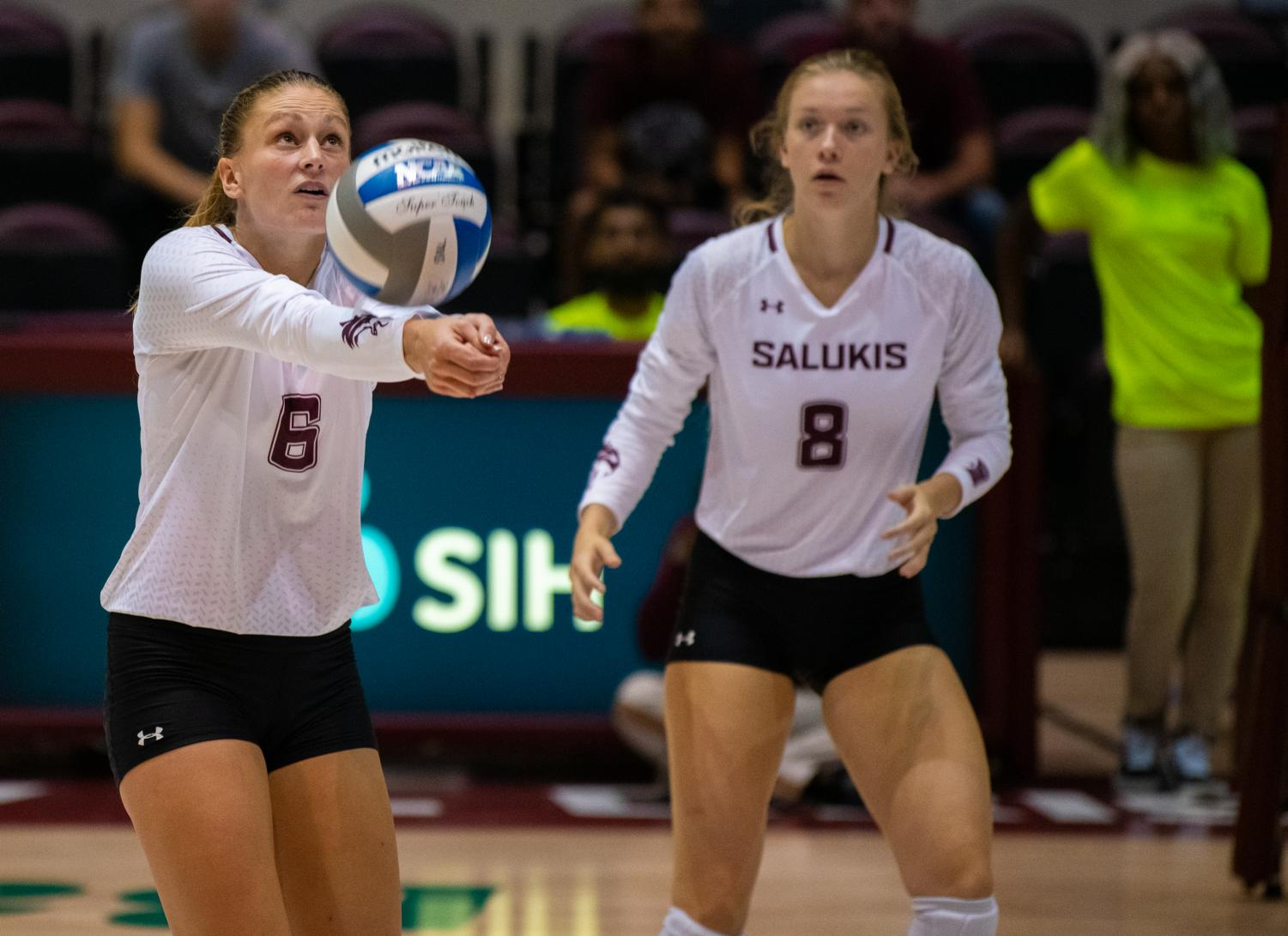 Junior+opposite+hitter+Emma+Baalman+hits+the+ball+on+Saturday%2C+Sept.+7%2C+2019+during+the+Salukis%E2%80%99+3-1+win+against+the+Southeastern+Louisiana+University+Lions+at+the+Banterra+Center.+