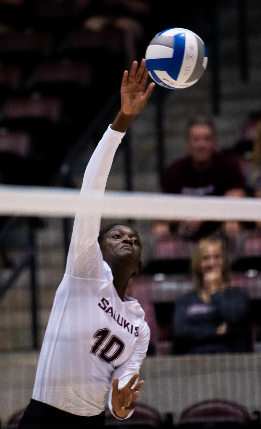 Junior+outside+hitter+Savannah+Sheridan+on+Saturday%2C+Sept.+7%2C+2019+during+the+Salukis%E2%80%99+3-1+win+against+the+Southeastern+Louisiana+University+Lions+at+the+Banterra+Center.+