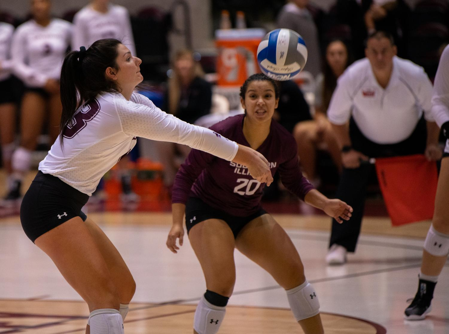 Junior+setter+Rachel+Maguire+hits+the+ball+on+Saturday%2C+Sept.+7%2C+2019+during+the+Salukis%E2%80%99+3-1+win+against+the+Southeastern+Louisiana+University+Lions+at+the+Banterra+Center.+