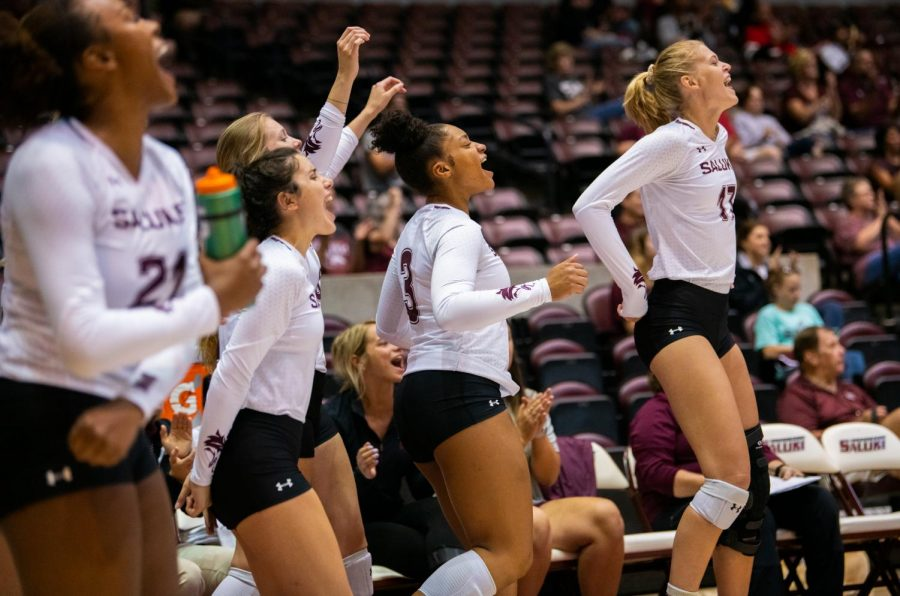 The Saluki bench reacts on Saturday, Sept. 7, 2019 during the Salukis' 3-1 win against the Southeastern Louisiana University Lions at the Banterra Center.