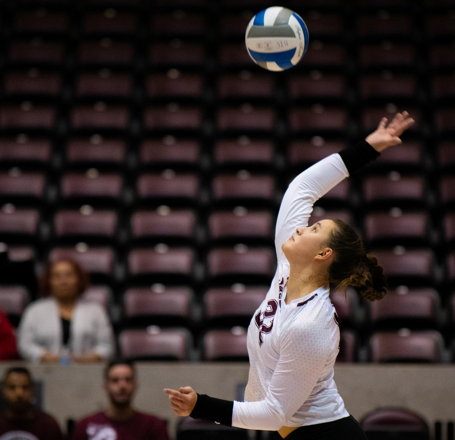 Freshman+outside+hitter+Bailey+Neuberger+serves+the+ball+on+Saturday%2C+Sept.+7%2C+2019+during+the+Salukis%E2%80%99+3-1+win+against+the+Southeastern+Louisiana+University+Lions+at+the+Banterra+Center.+
