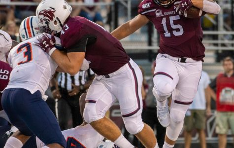 Saluki freshman Javon Williams Jr. on Saturday, Sept. 14, 2019 at SIU Arena during the Salukis' 28-14 win against the Tennessee-Martin Skyhawks.