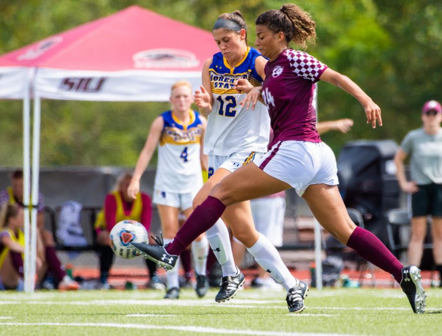 Saluki sophomore Maya Warrior kicks the ball on Sunday, Sept. 15, 2019 during the Salukis' 2-1 win in overtime against the Morehead State Eagles at the Lew Hartzog Track & Field Complex.