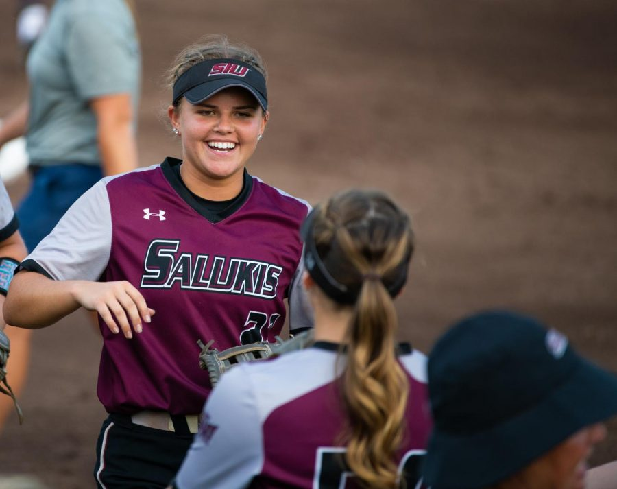 Saluki infielder Maddy Vermejan reacts on Saturday, Sept. 21, 2019 during the Salukis' 4-0 win against the Murray State Racers at Charlotte West Stadium.