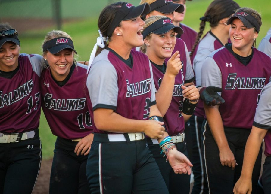 The Salukis react on Saturday, Sept. 21, 2019 after the Salukis' 4-0 win against the Murray State Racers at Charlotte West Stadium.