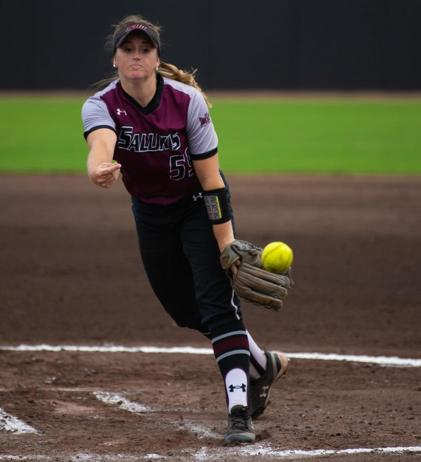 Saluki pitcher Claire Miller pitches the ball on Saturday, Sept. 21, 2019 during the Salukis' 4-0 win against the Murray State Racers at Charlotte West Stadium.