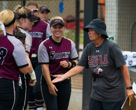 Head Coach Kerri Blaylock talks to the team on Saturday, Sept. 21, 2019 during the Salukis