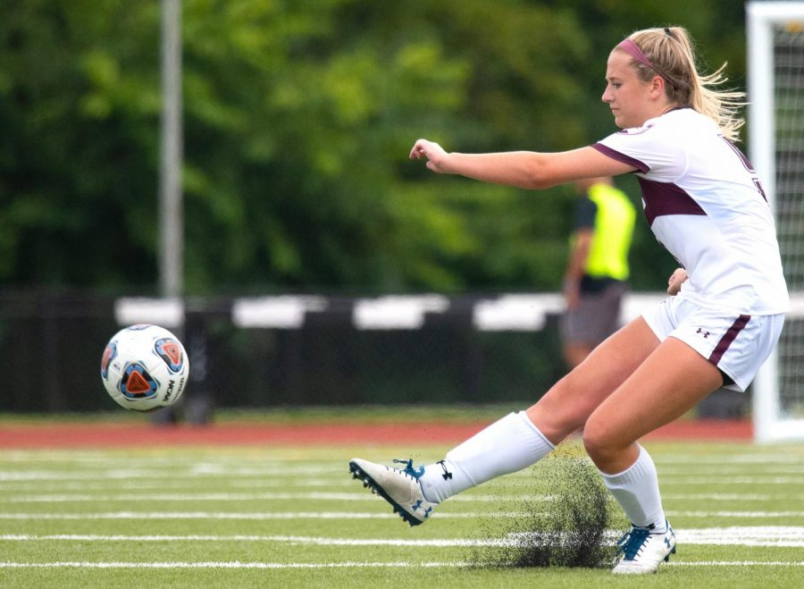 Christy Murauskis, of Palantine, kicks the ball during the SIU vs. IUPUI game on Sunday, Sept. 1, 2019, in Carbondale.