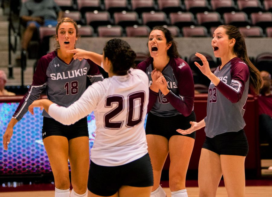 Rachael Maguire and Katy Kluge getting fired up after the play against IUPUI on Friday, Sept. 13, 2019 at the Banterra Center in Carbondale, IL.