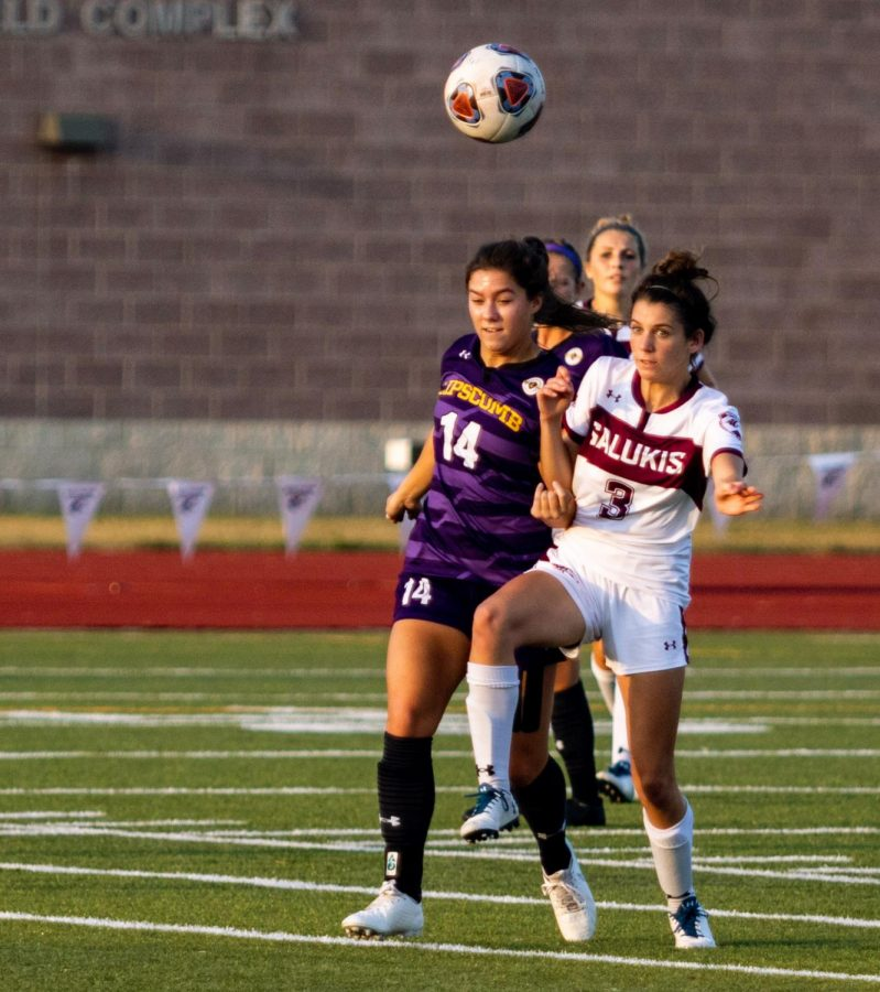 Saluki freshman Emma Spotak goes after the ball on Thursday, Sept. 19, 2019 during their 0-6 loss against the Lipscomb Bisons at the Lew Hartzog Track & Field Complex.