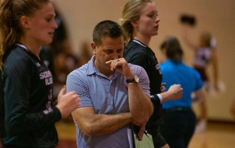 Head Coach Ed Allen reacts on Saturday, Oct. 5, 2019 during the Salukis' 0-3 loss against the University of Northern Iowa Panthers inside Davies Gym.