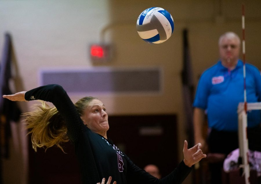 Saluki Emma Baalman spikes the ball on Saturday, Oct. 5, 2019 during the Salukis 0-3 loss against the University of Northern Iowa Panthers inside Davies Gym.