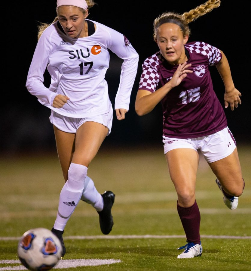 Saluki freshman Katy Quinn chases after the ball on Friday, Oct. 18, 2019 during the Salukis 0-2 loss against SIUE Cougars at the Lew Hartzog Track & Field Complex.
