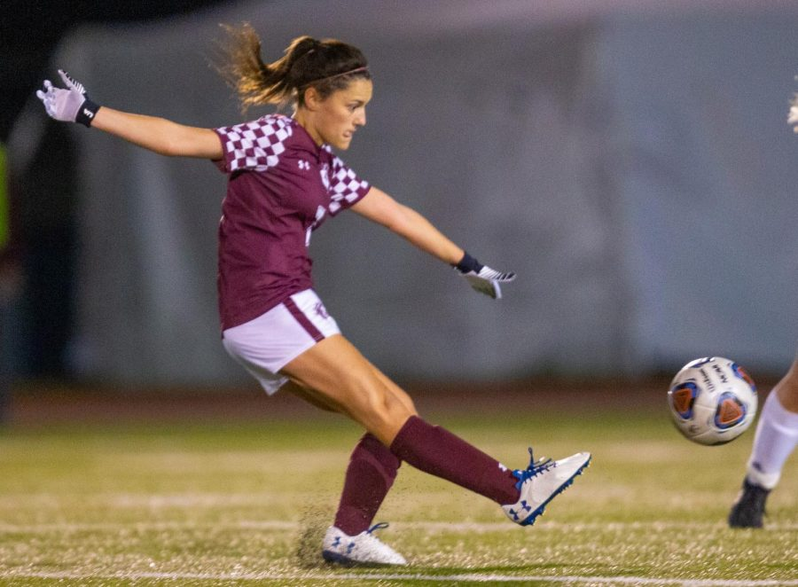 Saluki senior Andrea Rodriguez kicks the ball on Friday, Oct. 18, 2019 during the Salukis 0-2 loss against SIUE Cougars at the Lew Hartzog Track & Field Complex.