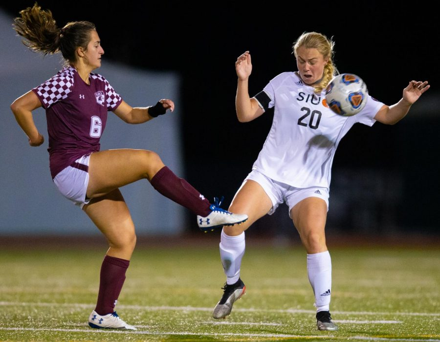 Saluki freshman Liz Brechtel kicks the ball on Friday, Oct. 18, 2019 during the Salukis' 0-2 loss against SIUE Cougars at the Lew Hartzog Track & Field Complex.