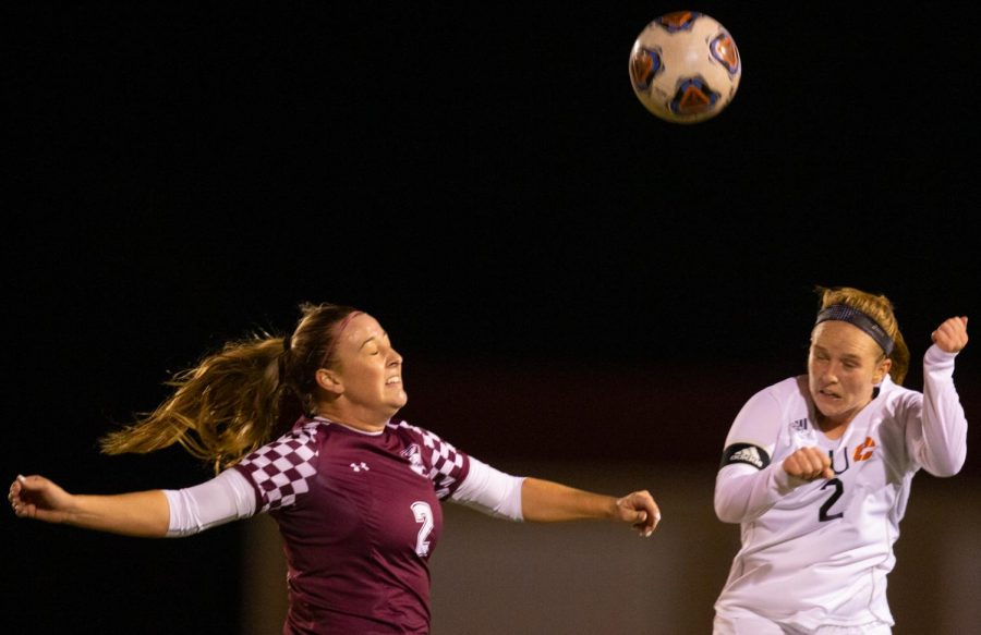 Saluki freshman Madison Bennion goes after the ball on Friday, Oct. 18, 2019 during the Salukis 0-2 loss against SIUE Cougars at the Lew Hartzog Track & Field Complex.