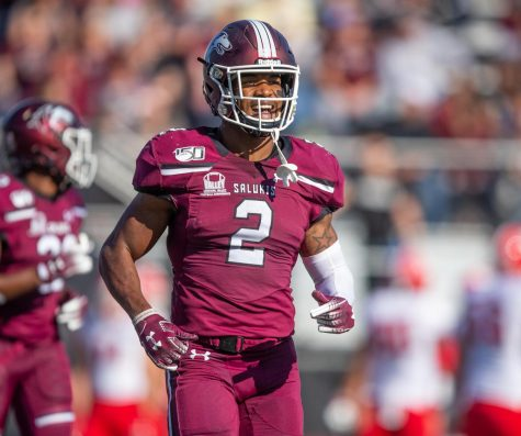 Saluki Jeremy Chinn reacts on Saturday, Oct. 19, 2019 during the Salukis