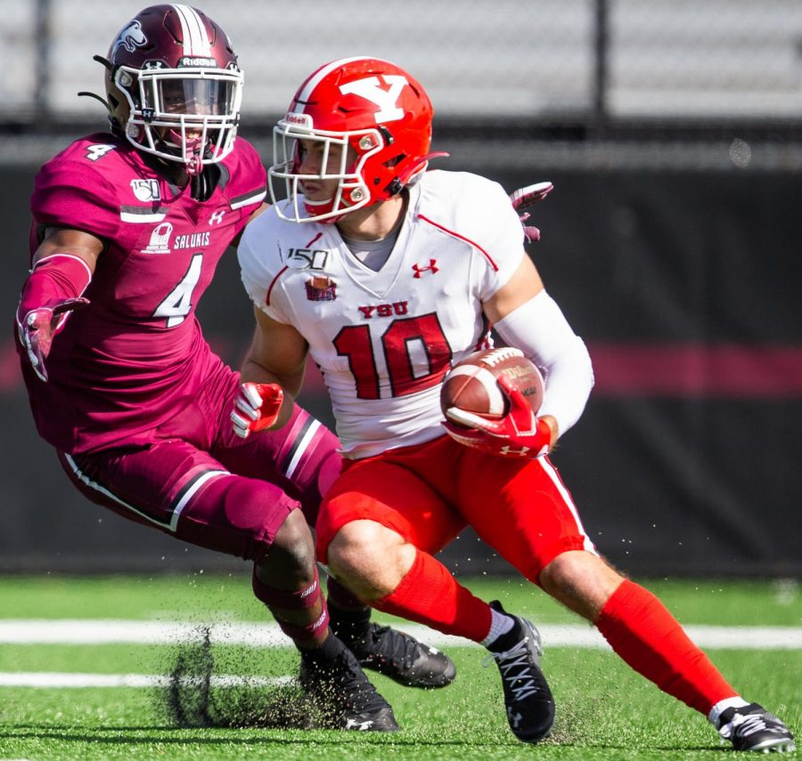 Saluki PJ Jules goes after the ballon Saturday, Oct. 19, 2019 during the Salukis 35-10 win against the Youngstown State Penguins.