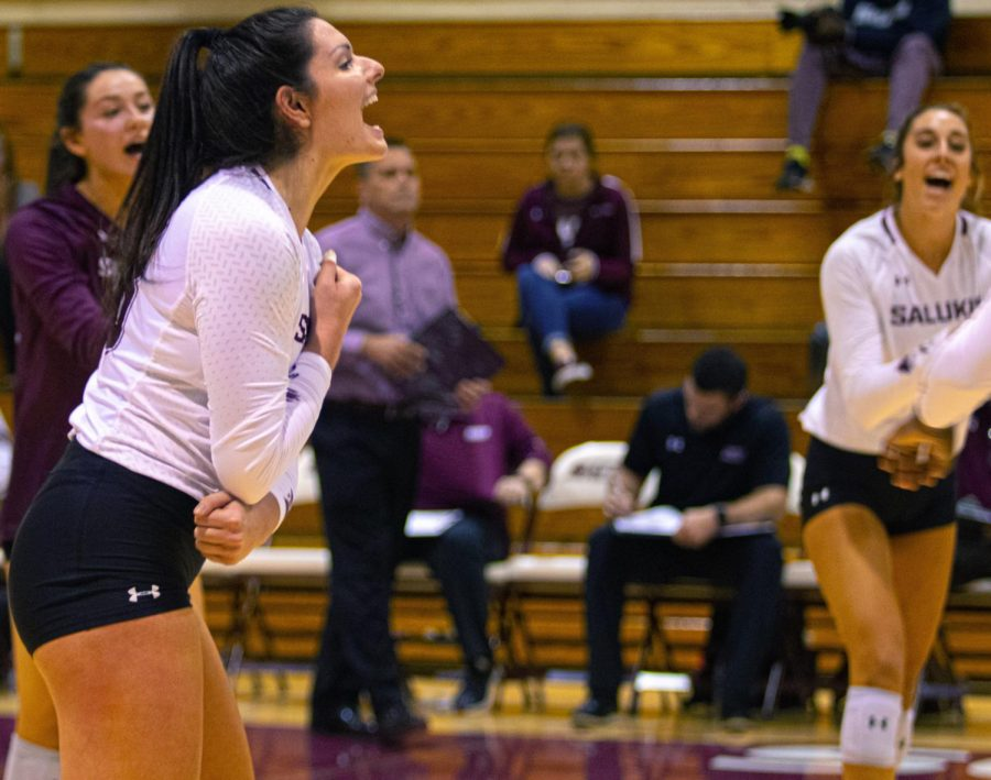 Salukis+Rachel+Maguire%2C+Alayna+Martin%2C+and+Katy+react+after+an+ace+on+Friday%2C+Oct.+18%2C+2019+during+the+Salukis%27+0-3+loss+to+the+Evansville+Aces+in+Davies+gym+at+SIU.+