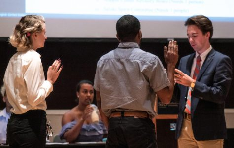 Undergraduate Student Government President Colton Newlin swears in new members of the student senate on Tuesday, Oct. 1, 2019 in the Student Center.