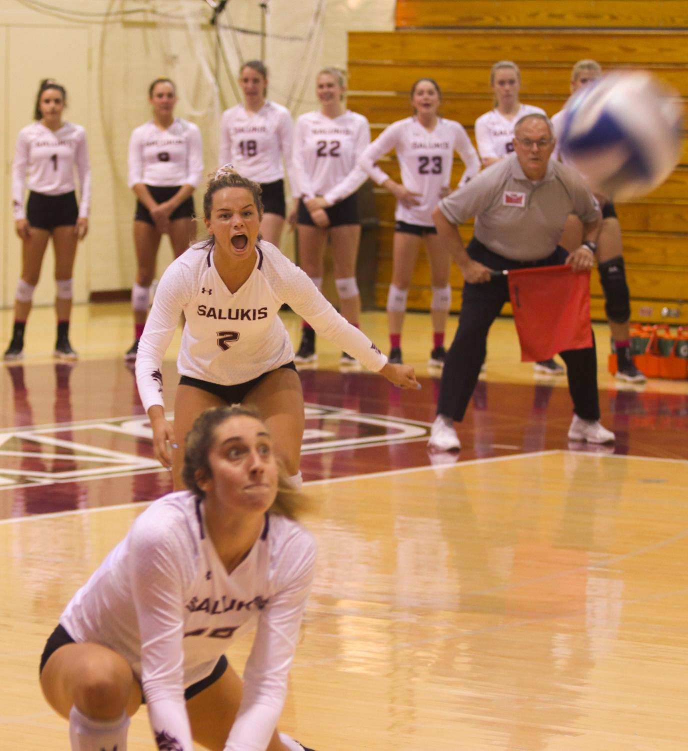 Saluki junior Lindsey Paulsen hits the ball on Friday, Oct. 4, 2018 during the Salukis 3-1 win against Drake University inside Davies' Gym.