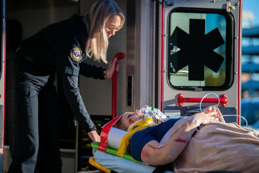 During a drill Chief Nurse Executive Jennifer Throgmorton was taken out of an ambulance on Friday, Nov. 1, 2019, during a live trauma drill inside Memorial Hospital of Carbondale. Throgmorton was put in the ICU for close observation.