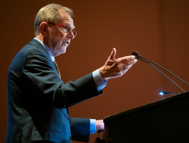 Interim Chancellor John M. Dunn speaks during the State of the University Address on Wednesday, Nov. 6, 2019 inside the Student Center.
