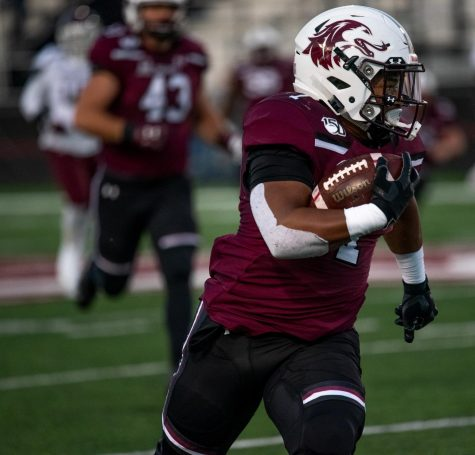Southern Illinois University Saluki freshman running back, Romeir Elliot, runs for a touchdown on Saturday, Nov. 9, 2019, during the Salukis