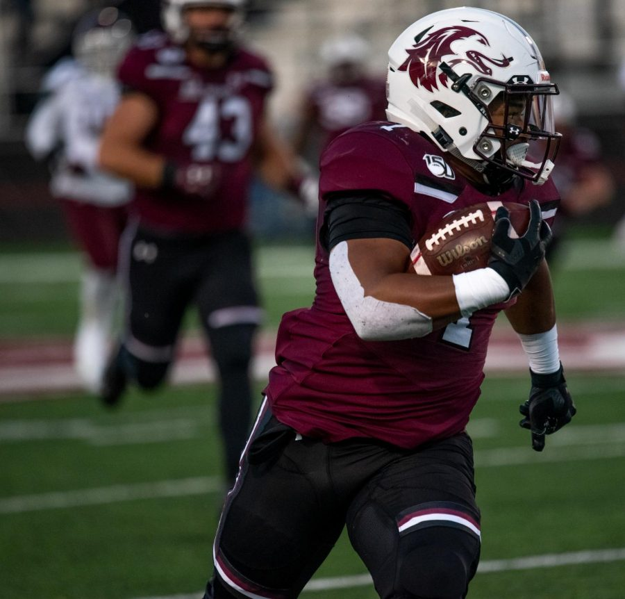 Southern Illinois University Saluki freshman running back, Romeir Elliot, runs for a touchdown on Saturday, Nov. 9, 2019, during the Salukis' 37-14 win against the Missouri State Bears in Carbondale.
