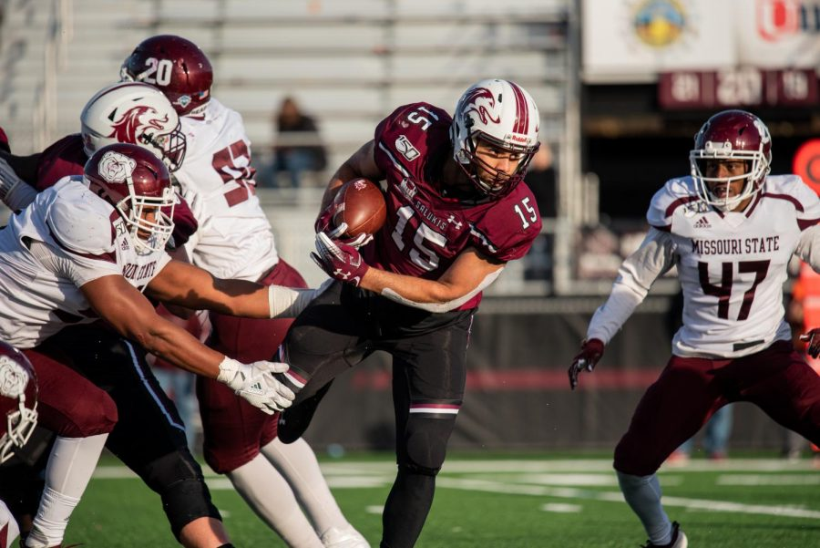 Southern Illinois University Saluki freshman running back, Javon Williams Jr. attempts to dodge an on-coming tackle on Saturday, Nov. 9, 2019, during the Salukis' 37-14 win against the Missouri State Bears in Carbondale.