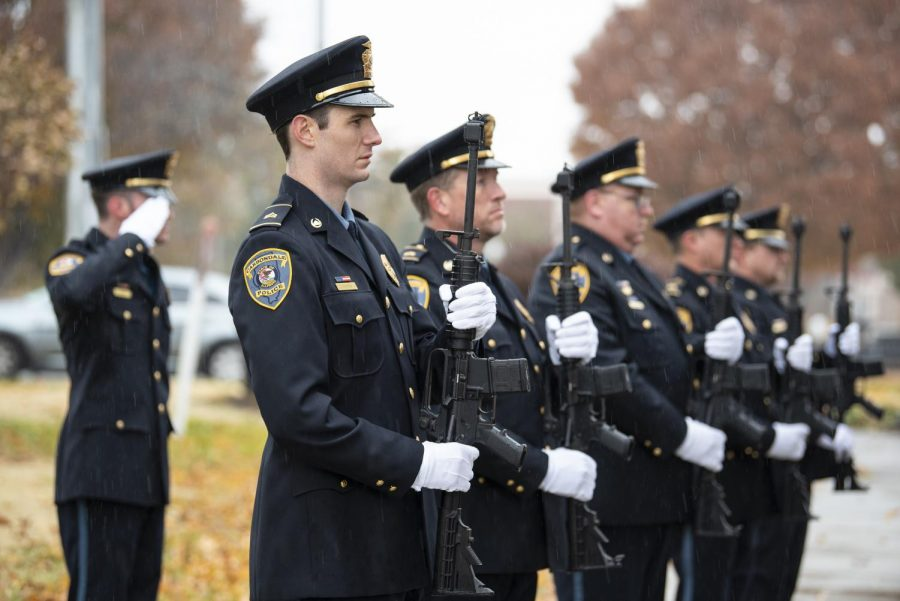 Carbondale+Police+Officers+stand+in+formation+with+M16%E2%80%99s+on+Monday%2C+Nov.+11%2C+2019%2C+at+the+Veteran%E2%80%99s+Day+Ceremony+in+downtown+Carbondale.+