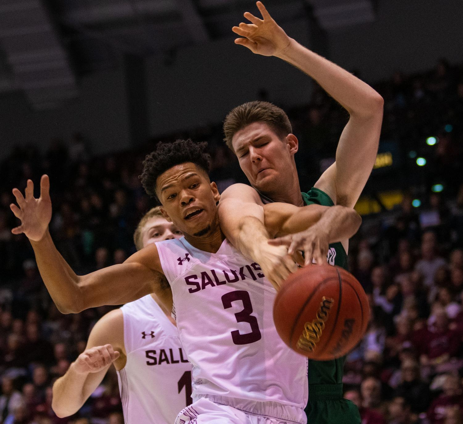 Saluki guard Ronnie Suggs Jr. blocks the rebound on Saturday, Nov. 16, 2019 during the Salukis' 60-76 loss to the San Francisco Dons inside the Banterra Center.