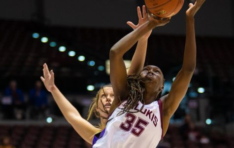 Junior forward Awa Keita goes for a basket on Saturday, Nov. 16, 2019 during the Salukis' 76-65 win against the Tennessee Tech University Golden Eagles.