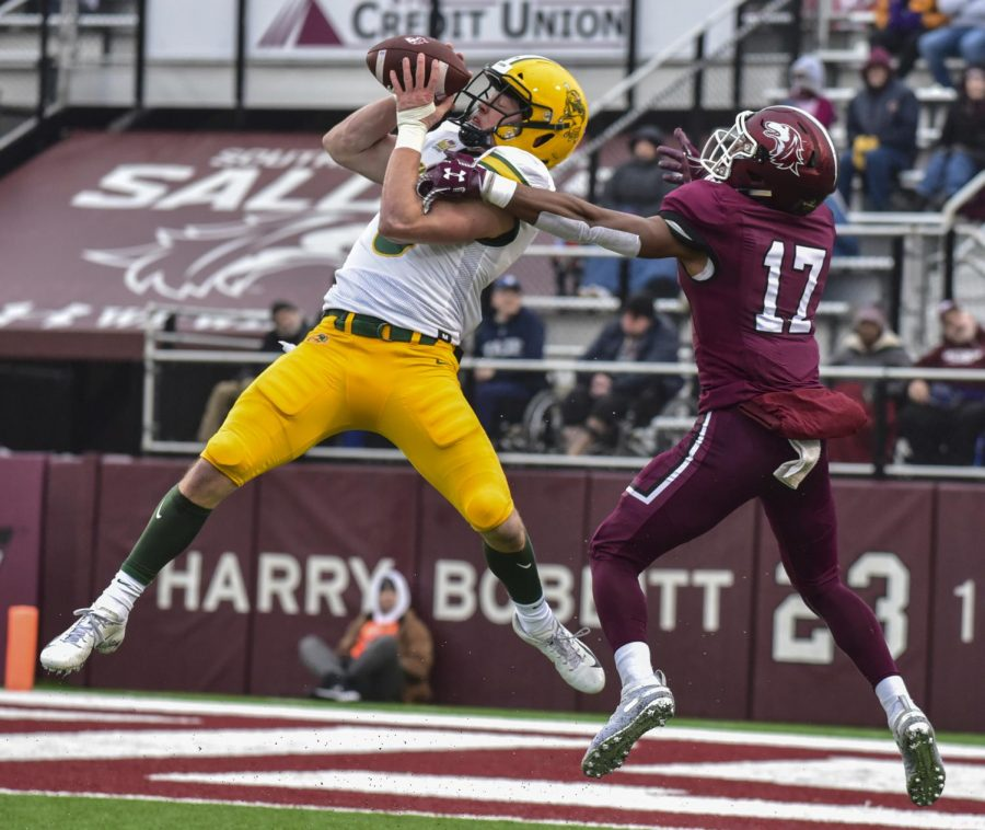 North Dakota State Free Safety James Hendricks, of Bemidji, Minn., picks off a pass from the Salukis on Saturday, Nov. 23, 2019, at the SIU vs. North Dakota State Football game in Carbondale.
