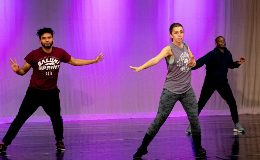 L-R: Luis Tituana, Allison Morey, and Monyea Hicks run through their performance that they will be performing at the SIDC's fall concert during practice on Tuesday, Nov. 12, 2019 at Furr Auditorium