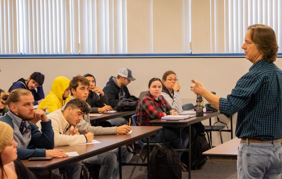 Professor David Cochran addresses his history class' question about their upcoming exam at John A. Logan on Nov. 1, 2019 in Carterville, IL