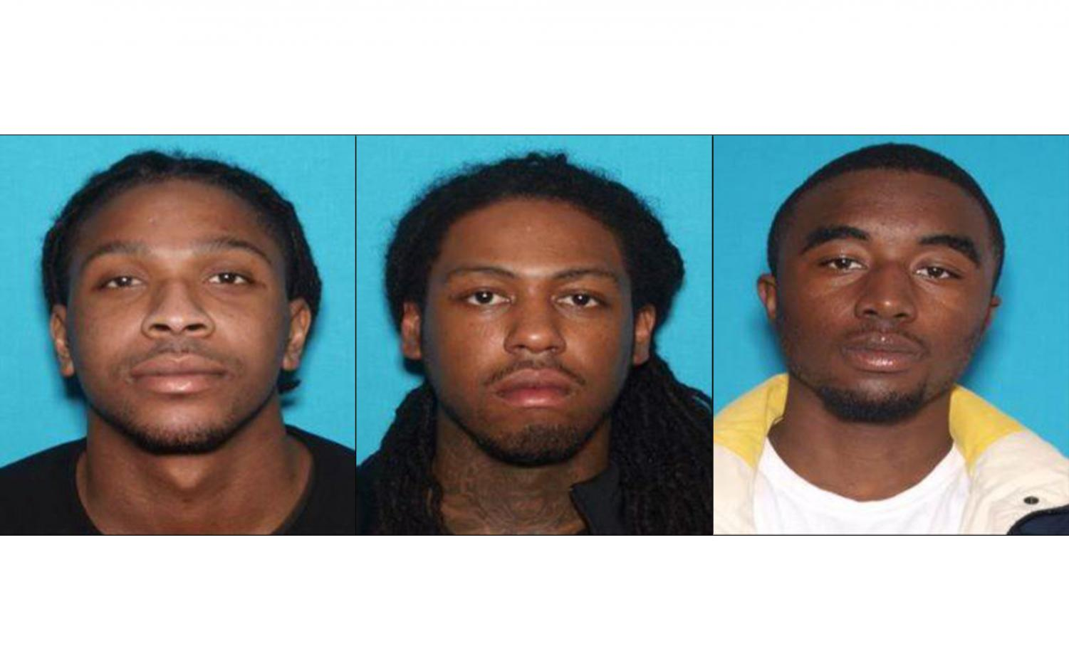 Left to right: Olando Sheron, 24 years old of Sikeston, Missouri; Thomas Durell Evans, 30 years old of Cape Girardeau, Missouri; Tyren Johnson, 21 years old of Sikeston, Missouri. Johnson and Evans are both being held in Missouri, pending extradition to Illinois.