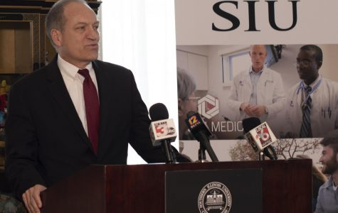 Daniel F. Mahoney, SIU system president, addresses press on Thursday, Dec. 5 2019, at Southern Illinois University in Carbondale, Illinois.
