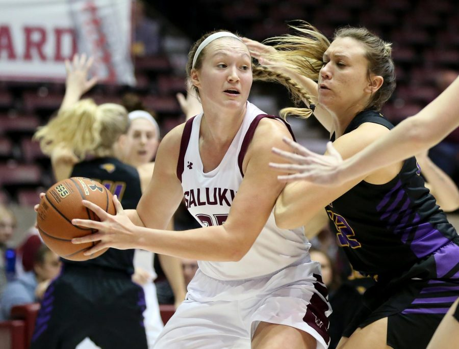 Saluki forward Abby Brockmeyer looks to pass the ball on Friday, January 10, 2020, during the Salukis' 60-57 loss to the Northern Iowa Panthers inside the Banterra Center.