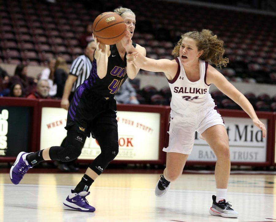 Saluki guard Payton McCallister steals the ball from Panthers guard Abby Gerrits on Friday, January 10, 2020, during the Salukis' 60-57 loss to the Northern Iowa Panthers inside the Banterra Center.