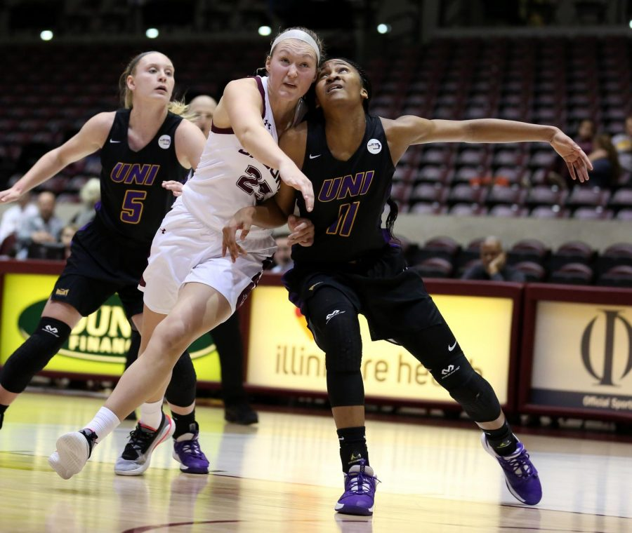 Saluki forward Abby Brockmeyer jostles for position with Panthers forward Bre Gunnels on Friday, January 10, 2020, during the Salukis' 60-57 loss to the Northern Iowa Panthers inside the Banterra Center.