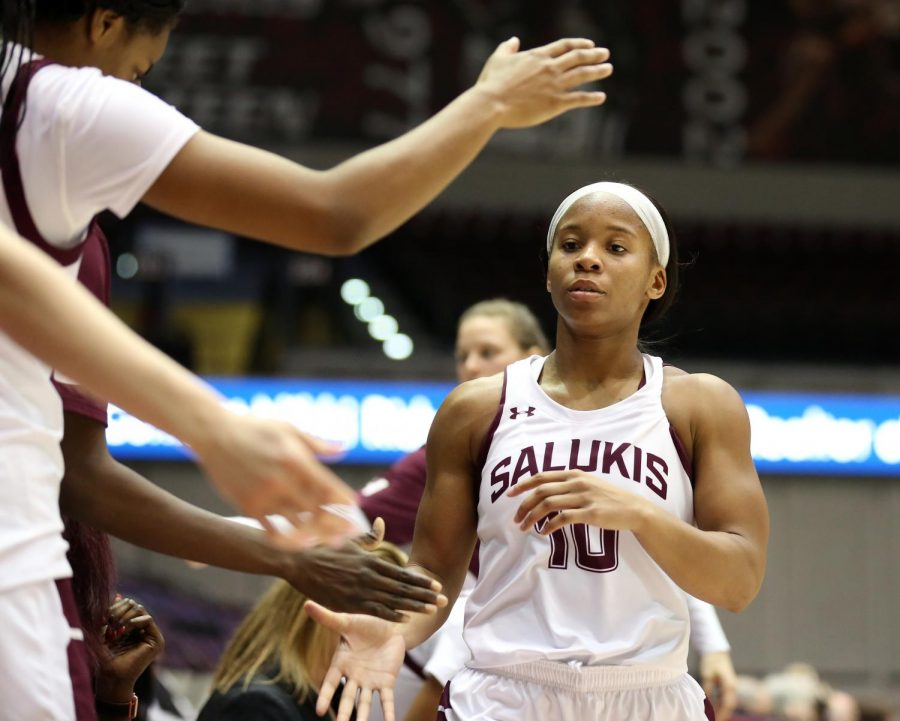 Saluki guard Brittney Patrick returns to the bench on Friday, January 10, 2020, during the Salukis' 60-57 loss to the Northern Iowa Panthers inside the Banterra Center.