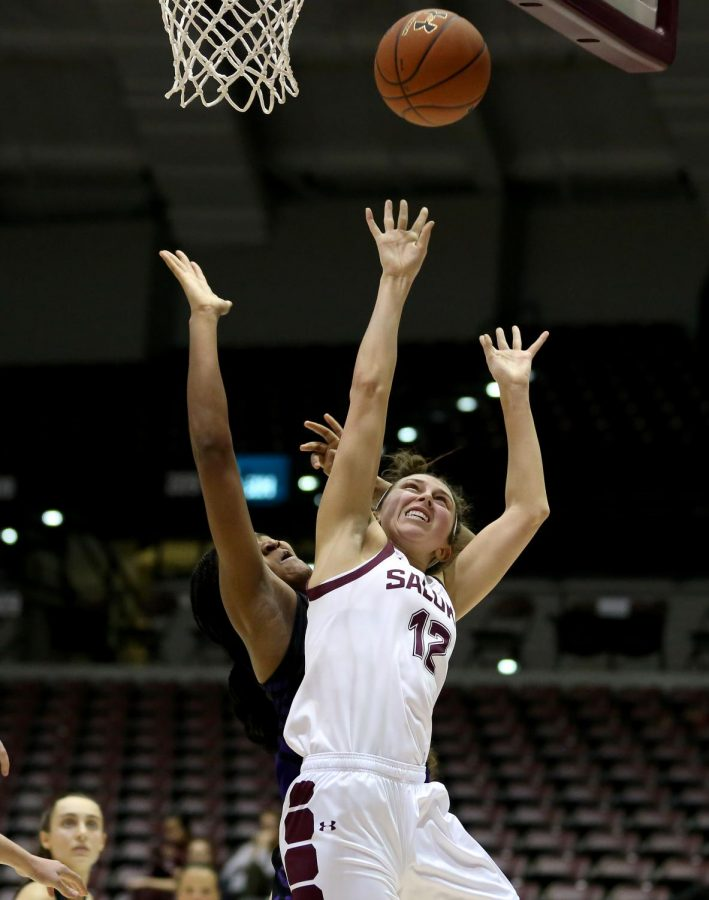Saluki guard Mackenzie Silvey goes up for two on Friday, January 10, 2020, during the Salukis' 60-57 loss to the Northern Iowa Panthers inside the Banterra Center.