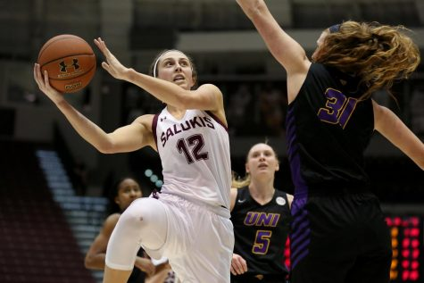 Saluki guard Mackenzie Silvey goes up for two on Friday, January 10, 2020, during the Salukis