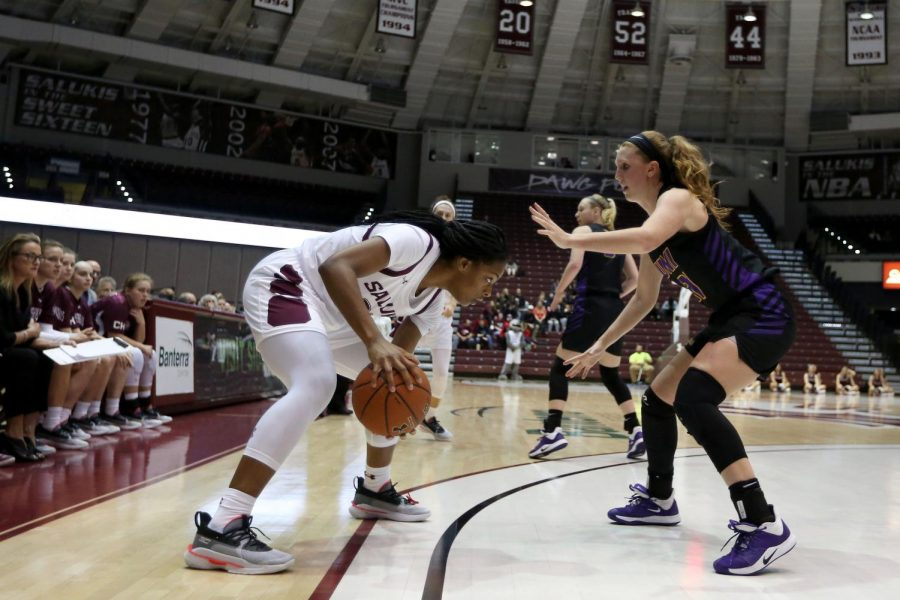 Saluki forward Nicole Martin gets set to make her move against Panthers guard Kristina Cavey on Friday, January 10, 2020, during the Salukis' 60-57 loss to the Northern Iowa Panthers inside the Banterra Center.